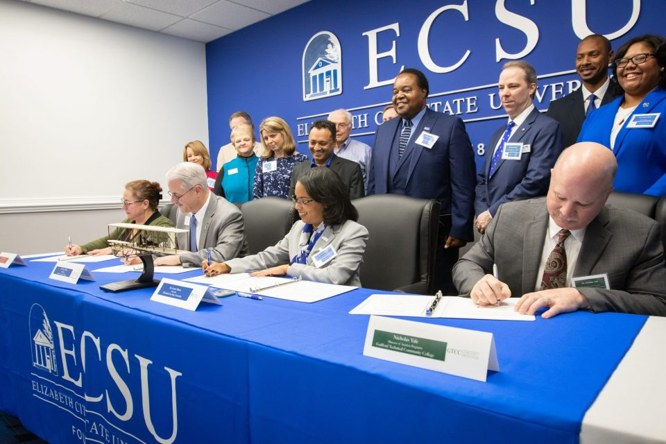 ECSU Signs Aviation Articulation Agreement with Three NC Community Colleges